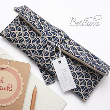 "Pencil Case Betiluca  Waves - 8,4"" x 3,1"" - 100% cotton fabric - Blue and Beige Pattern - Traditional Japanese pattern"