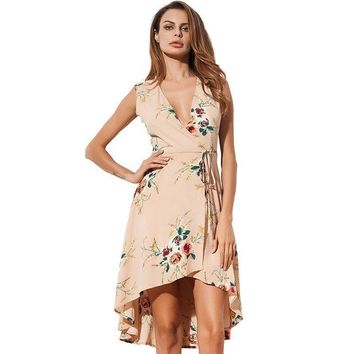 Asymmetrical Dress Summer Fashion Floral Print Women Dress Chiffon Sleeveless V Neck Casual Midi Dresses Apricot