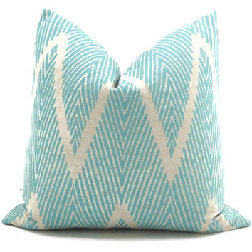 Aqua and Gray Ikat Chevron Decorative Pillow Cover, Square, Eurosham or Lumbar pillow Throw Pillow, Accent Pillow, Toss Pillow