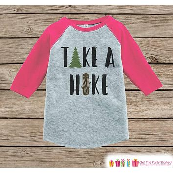 Girl's Take a Hike Outfit - Pink Raglan Shirt or Onepiece - Kids Baseball Tee - Hiking Shirt for Baby, Toddler, Youth - Adventure Clothing