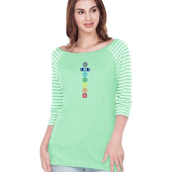 Yoga Clothing For You Colored Chakras Striped Contrast 3/4 Sleeve Yoga Tee Shirt