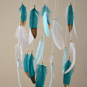 Baby Mobile, Nursery Mobile, Dream Catcher Feather Mobile, Mint Teal Gold Nursery Decor, Baby Boy Nursery Mobile, Tribal Nursery Decor