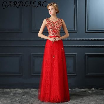 Gardlilac Cap Sleeve Red Long Prom Dress with Embroidery Crystals Floor-Length Lace up Prom Party Dress Long Evening Party Gown