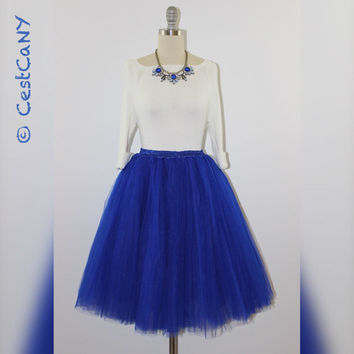 Cassie Royal Blue Tulle Skirt, 7-Layers Puffy Princess Tutu in Bright Blue, Knee-Length Tutu - Length 23.5""