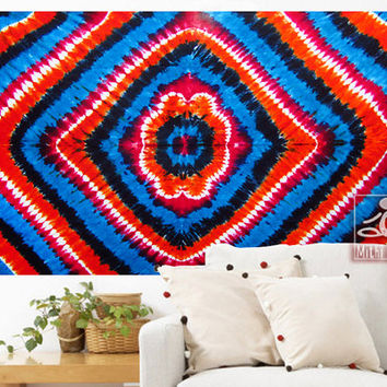 Psychedelic Tapestry Multicolor Tie Died Gifts Ethnic Indian Boho Decor Beach Life Art Hippie Bedding Gypsy Bedspread Beach Throw 1038