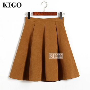 KIGO Autumn Winter Skirts Women 2016 Suede Skirt High Waist Flared Skirt Knee-Length Midi Casual Vintage Skirt Faldas KJ1065H