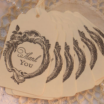 Thank You Tags Elegant Frame Wedding Set of 25