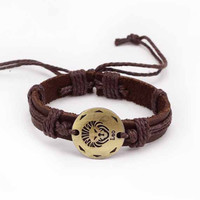 Constellation Men Leather Bracelet Male Female  alloy fittings 12 Zodiac hand-woven leather bracelet