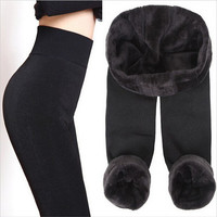 Hot S-XL 2016 New Fashion Women's Autumn Winter High Elasticity And Good Quality Leggings Thick Velvet Pants Activity Warm