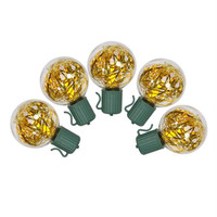 Gold G40 Tinsel Christmas Lights - 25 Bulbs On Green Wire