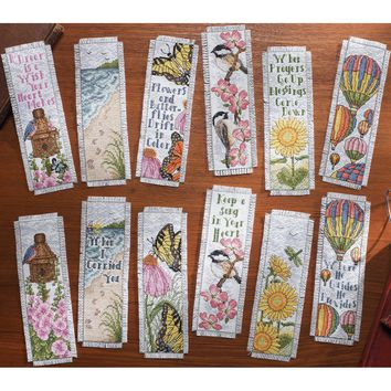 """Inspired By Nature Bookmarks Counted Cross Stitch Kit-2.5""""X8"""" 14 Count Set Of 12"""
