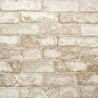 Rustic Brick Wallpaper in Neutrals and Ivory design by York Wallcoverings