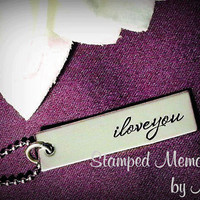 iloveyou - Hand Stamped Necklace - Simple, Elegant Jewelry - Stainless Steel - Mother's Day Gift