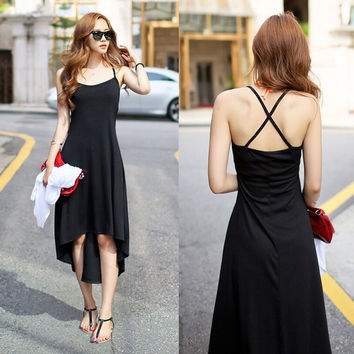 Fashion Spaghetti Strap Criss-Cross Asymmetric Slim Black Dress Sundress One Size (Color: Black) = 1845693956