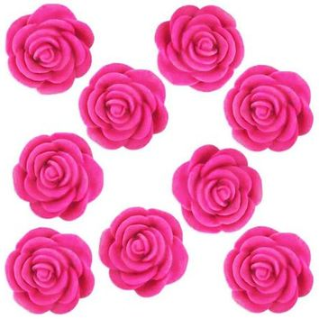 12 Hot Pink Fondant Tea Roses - hot pink edible sugar flowers for decorating cupcake, cakes, and cookies.