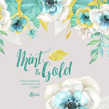 Mint & Gold. Watercolor floral Bouquets and arrangement Clipart. Hand painted flowers, wedding diy elements, flowers, invite, gold glitter