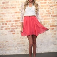 Gatsby Dress Lace and Coral - Modern Vintage Boutique