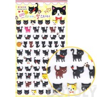 Black Kitty Cat Animal Shaped Puffy Sticker Seals for Scrapbooking and Decorating