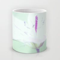 Art Coffee Cup Mug Delicate Flower photography home decor Java Lovers Mint Green Pastel Purple white photo abstract photograph feminine mug