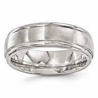Men's Wedding Band Titanium Brushed & Polished 7mm Band