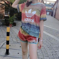 """Adidas"" Fashion Casual Camouflage Clover Letter Print Short Sleeve T-shirt Shorts Sports Set Two-Piece"