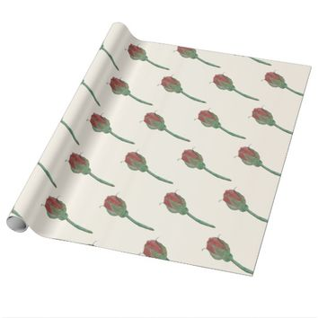 Rose Bud Watercolor Gift Wrap