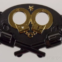 Police Belt Buckle Metal Guns Handcuffs Badge Sheriff Star Security Guard Gold