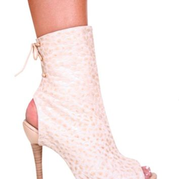 Pink Croco Leather Open Toe  High Heel Boots
