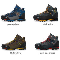 Mens Waterproof hiking boots Outdoor Boots Men Sport shoes Geniune Leather Climbing Shoes Ankle Boots in four colors zapatos hombre regata