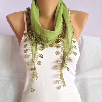 Green Floral Lace Scarf - Pistachio Green Lace Scarf - Bohemian Wedding Scarf - Bridesmaid Gift
