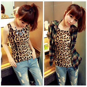 Fashion Women Summer Casual Leopard Vest Tops Tank Sleeveless Shirt Blouse Tunic
