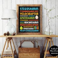 "Dinosaur Typography Quote Nursery Decor, 8x10"", Instant Download, Kids Room Wall Decal, Boys Dinosaur Printable, Child Art, Nursery Poster"