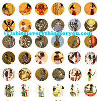 egyptian king queen gods goddesses collage sheet 1 inch circles clip art digital download graphics images craft pendant pins printables