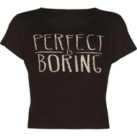Full Tilt Perfect Is Boring Girls Fitted Tee Black  In Sizes