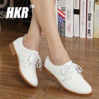 HKR 2016 autumn women oxford shoes ballerina flats shoes women genuine leather lace up white boat shoes woman moccasins 888