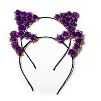 Flower cat ear headband, festival wear, ariana grande concert attire, music festival, flower child, cat ears, ultra, edc,