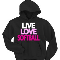 Live Love Softball Hoodie Sweatshirt (X-Large, Black)