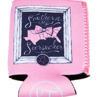 Southern As Seersucker Koozie by LAUREN JAMES {Pink}