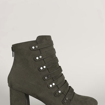 Qupid Strappy Studded Suede Block Heeled Booties