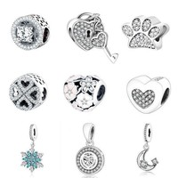 CREYNW6 Pandora Charms Orignal Bracelet 100% 925 Sterling Silver Charm Beads For Mother Gift DIY Jewelry Factory Price