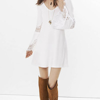 White Lace Inset Trapeze Dress from EXPRESS