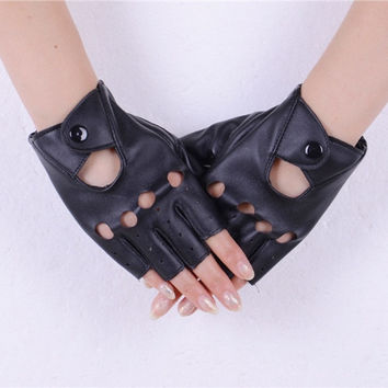 2015 Fashion Half Finger Driving Women Gloves 1 Pair PU Leather Fingerless Gloves For Women Black NXH01207 (Color: Black) = 1932706244