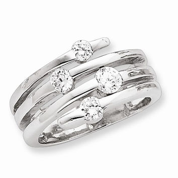 Sterling Silver Cubic Zirconia Right Hand Ring