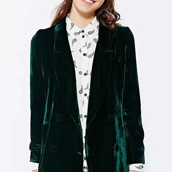 Line & Dot Velvet Double-Breasted Blazer- Green