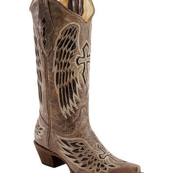 Corral Distressed Black Sequin Cross & Wing Inlay Cowgirl Boots - Snip Toe - Sheplers