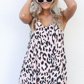 Long Drives Leopard Print Sleeveless Dress