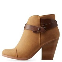 Tan Belt-Wrapped Chunky Heel Ankle Booties by Charlotte Russe