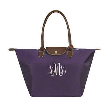 Monogrammed Tote Bag | LARGE Longchamp Inspired Nylon Weekender | Teacher's Gifts, Bridal Party, Sorority, Birthday, School Bag, Christmas