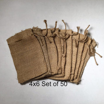"4x6"" Burlap Bags with drawstring, set of 50, wedding favor bags, party favor bags, burlap gift bags, rustic wedding decor, jute bag"