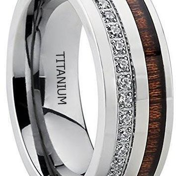 Titanium Men's Wedding Band Ring With Real Koa Wood Inlay Cubic Zirconia CZ, 8MM Comfort Fit